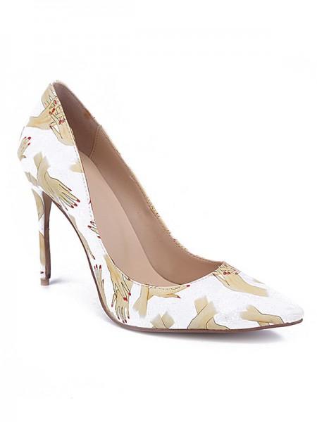 Mulheres Dedo do pé fechado PU Stiletto Heel com Printing Salto alto