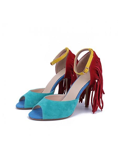 Mulheres Camurça Peep Toe Stiletto Heel com Tassel Sandálias Sapatos