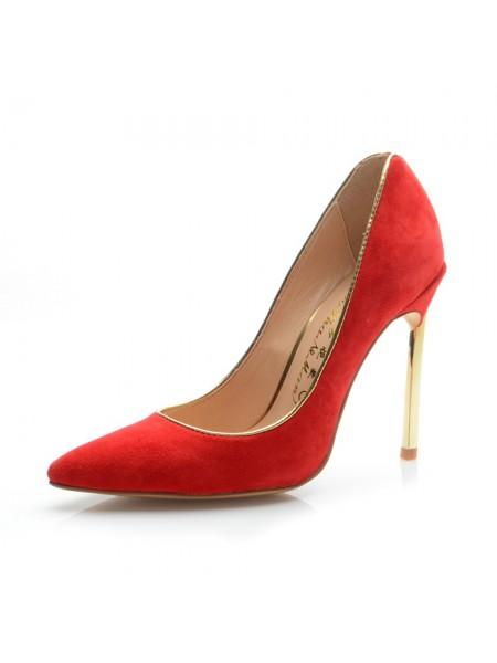 Mulheres Camurça Dedo do pé fechado Stiletto Heel Salto alto