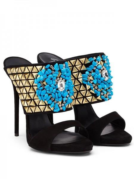 Mulheres Camurça Peep Toe Stiletto Heel com Missangas Party Sandálias Sapatos