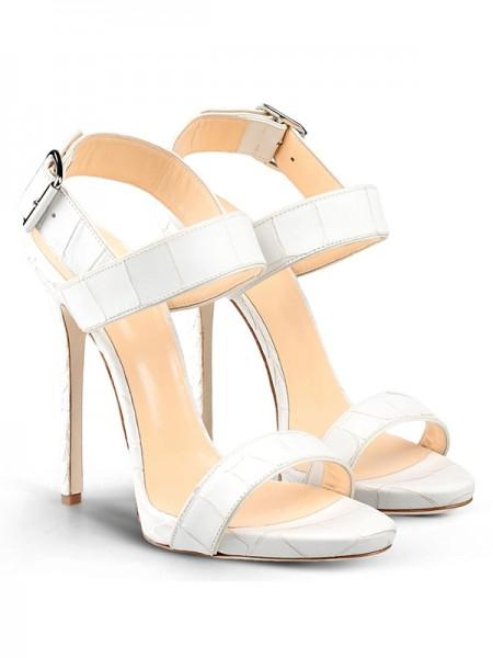 Mulheres Peep Toe Stiletto Heel Cattlehide Couro com Fivela Party Sandálias Sapatos