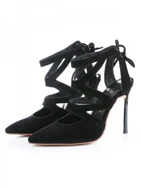 Mulheres Camurça Dedo do pé fechado Stiletto Heel Sandálias