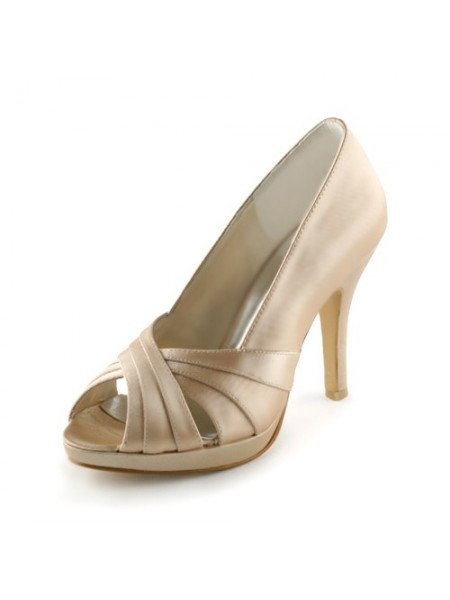 Mulheres Cetim Stiletto Heel Peep Toe Plataforma Sandálias Champagne Casamento Sapatos