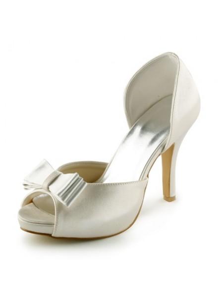 Mulheres Cetim Stiletto Heel Peep Toe Plataforma Sandálias Marfim Casamento Sapatos com Laço