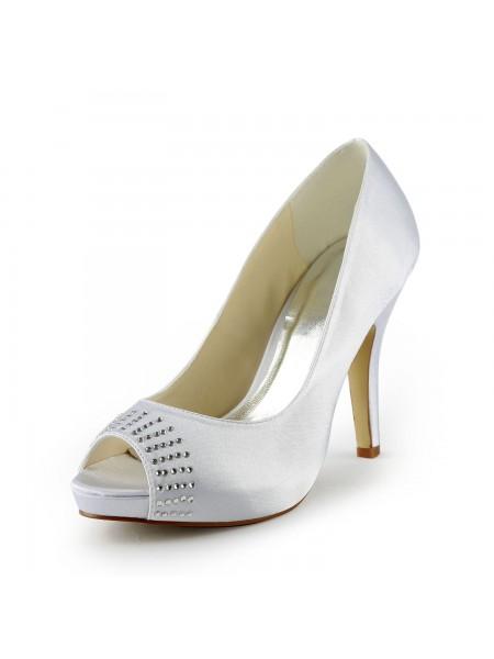 Mulheres Cetim Stiletto Heel Peep Toe Plataforma Branco Casamento Sapatos com Imitação de Diamante