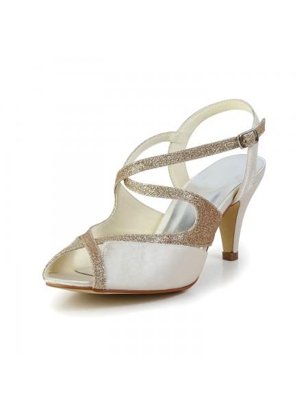 Mulheres Cetim Peep Toe Pumps Sandálias Sapatos de Dança com Imitação de Diamante