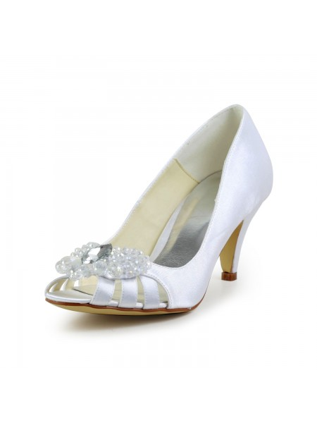 Mulheres Cetim Cone Heel Peep Toe Sandálias Branco Casamento Sapatos com Hollow-out