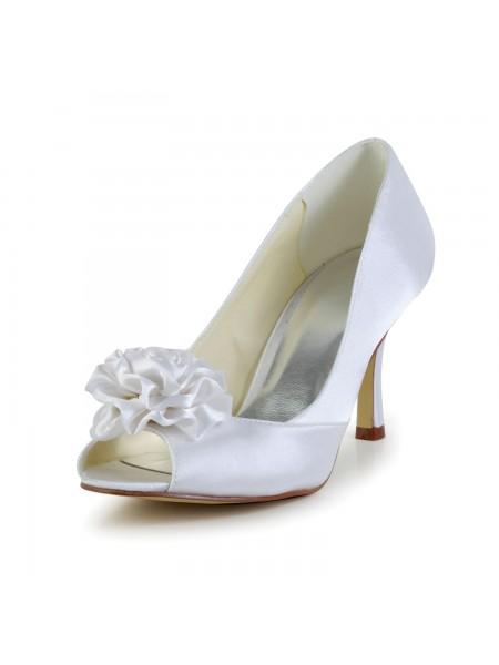 Mulheres Cetim Stiletto Heel Peep Toe Branco Casamento Sapatos com Flor