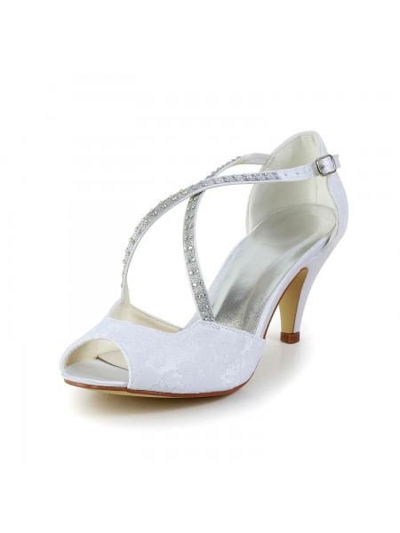 Mulheres Cetim Cone Heel Peep Toe Sandálias Branco Casamento Sapatos com Imitação de Diamante Fivela