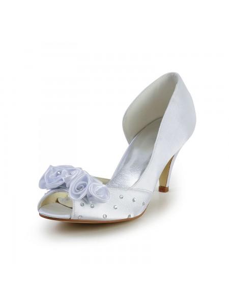 Mulheres Cetim Cone Heel Peep Toe Branco Casamento Sapatos com Flor Imitação de Diamante