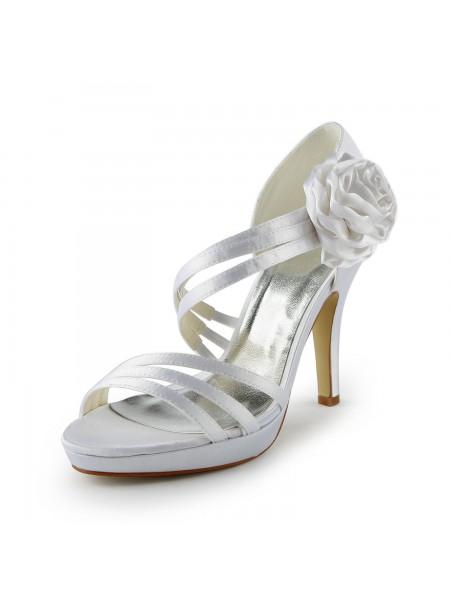 Mulheres Cetim Stiletto Heel Plataforma Sandálias Branco Casamento Sapatos com Flor