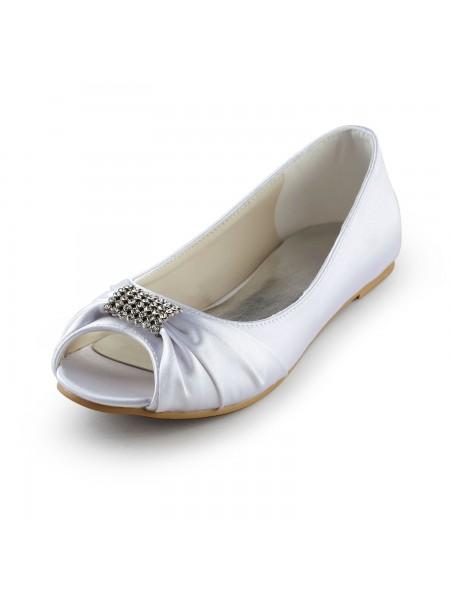 Mulheres Cetim Heel Plana Peep Toe Sandálias Branco Casamento Sapatos com Imitação de Diamante