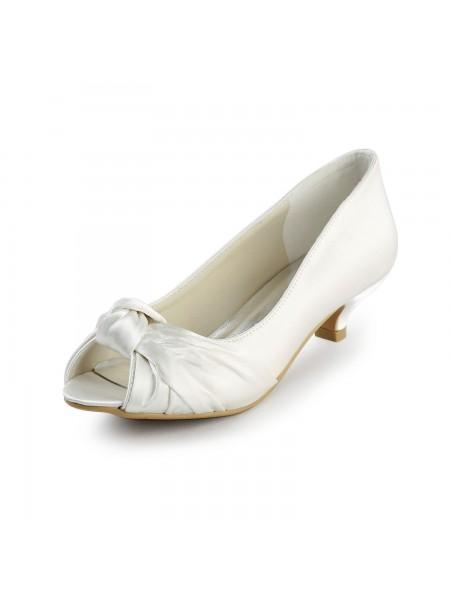 Mulheres Cetim Salto Gatinho Peep Toe Sandálias Branco Casamento Sapatos com Laço