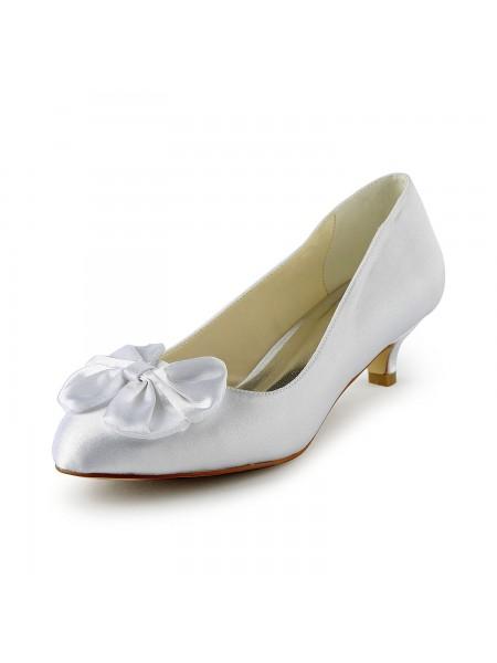 Mulheres Cetim Salto Gatinho Pumps com Laço Branco Casamento Sapatos