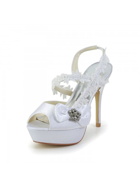 Mulheres Cetim Peep Toe Stiletto Heel Branco Sapatos com Casamento Laço