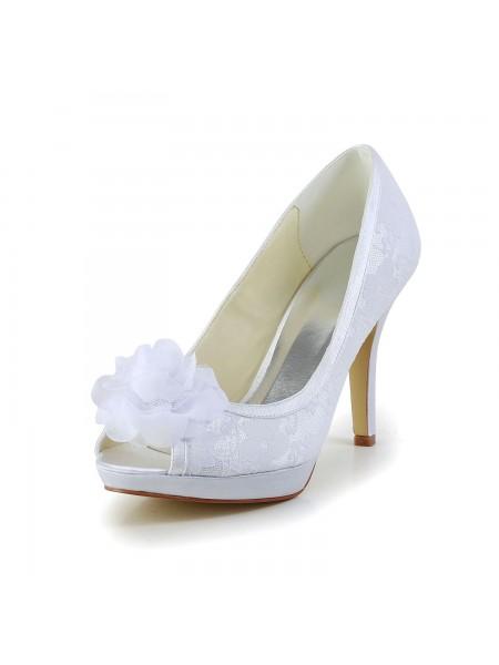 Mulheres Cetim Peep Toe Stiletto Heel Branco Casamento Sapatos com Flor