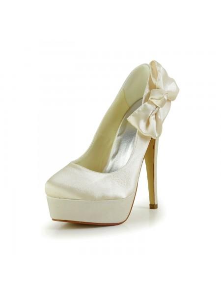 Mulheres Cetim Stiletto Heel Dedo do pé fechado Plataforma Champagne Casamento Sapatos com Laço