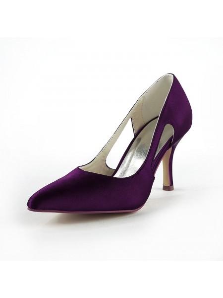 Mulheres Cetim Stiletto Heel Dedo do pé fechado Pumps Grape Casamento Sapatos
