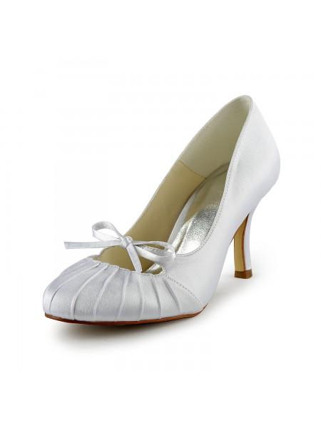 Mulheres Cetim Stiletto Heel Dedo do pé fechado Pumps Branco Casamento Sapatos com Laço Drapeado