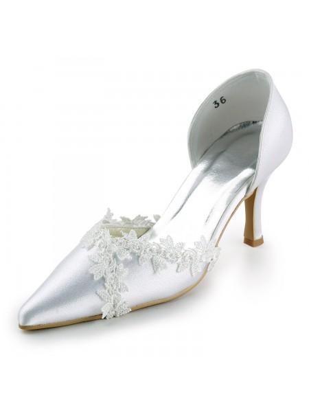 Mulheres Cetim Stiletto Heel Dedo do pé fechado Pumps Branco Casamento Sapatos com Renda