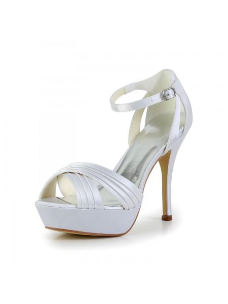 Mulheres Cetim Stiletto Heel Peep Toe Plataforma Sandálias Branco Casamento Sapatos com Fivela