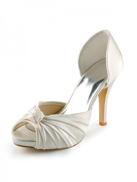 Mulheres Cetim Stiletto Heel Peep Toe Plataforma Pumps Branco Casamento Sapatos com Laço