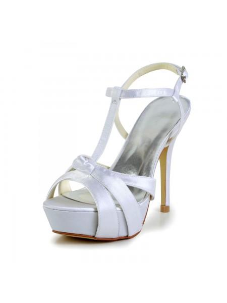 Mulheres Cetim Stiletto Heel Peep Toe Slingbacks Sandal Branco Casamento Sapatos com Fivela