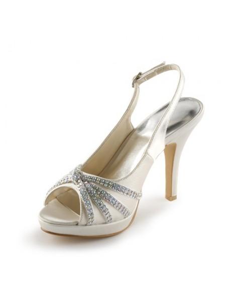 Mulheres Cetim Stiletto Heel Peep Toe Plataforma com Imitação de Diamante Champagne Casamento Sapatos