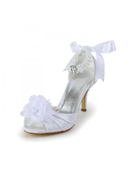 Mulheres Cetim Stiletto Heel Peep Toe Sapatos de Dança com Imitation Pérola