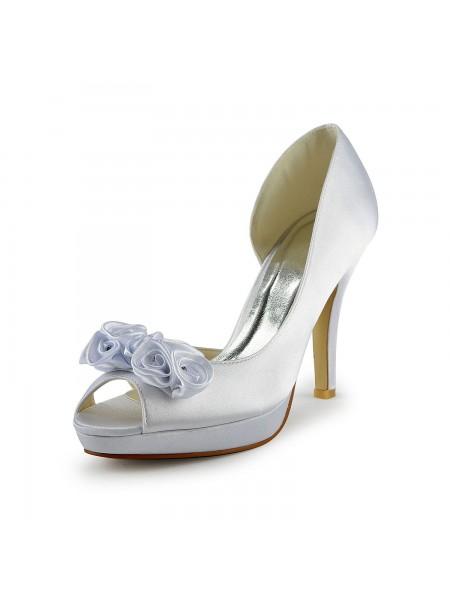 Mulheres Cetim Stiletto Heel Peep Toe com Flor Branco Casamento Sapatos