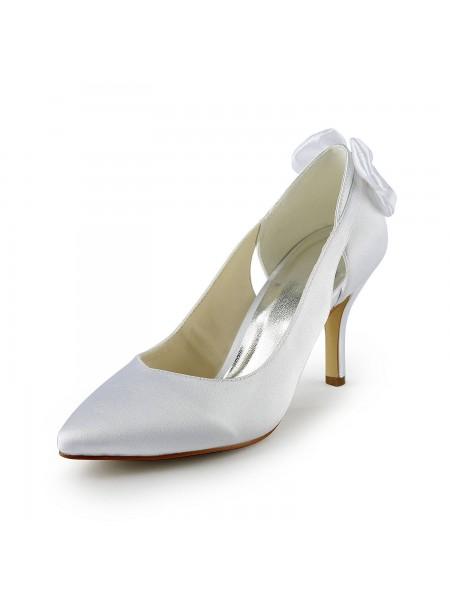 Mulheres Cetim Stiletto Heel Pumps com Hollow-out Branco Casamento Sapatos
