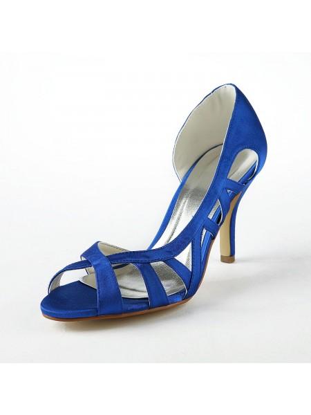 Mulheres Cetim Upper Stiletto Heel Salto alto Sandálias Sapatos