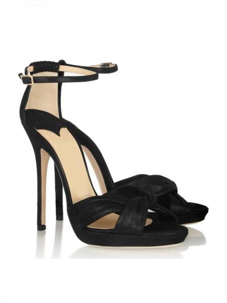 Mulheres Stiletto Heel Cetim Mary Jane Plataforma Peep Toe Sandálias Sapatos
