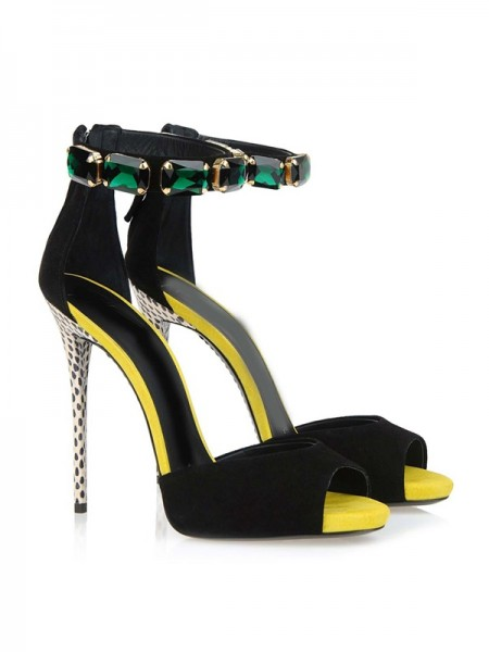 Mulheres Camurça Peep Toe Stiletto Heel Plataforma com Cristal Sandálias Sapatos
