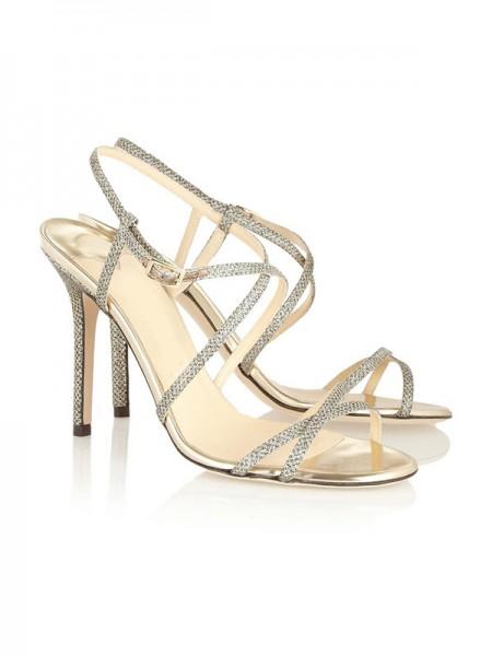 Mulheres Peep Toe Stiletto Heel com Fivela Sandálias Sapatos