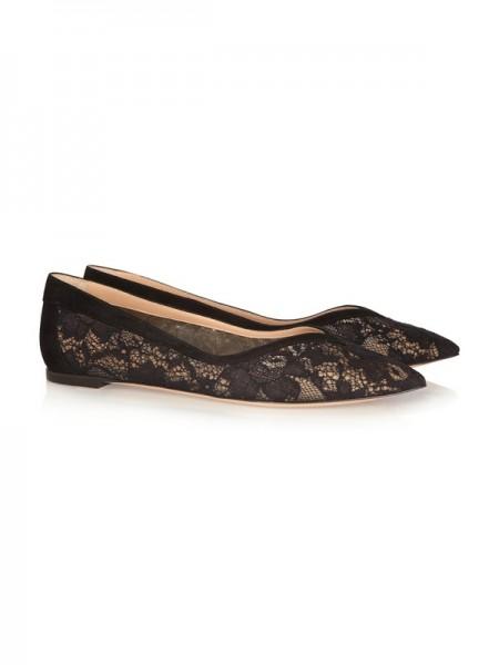 Mulheres Heel Plana Renda Dedo do pé fechado com Mesh Flat Sapatos