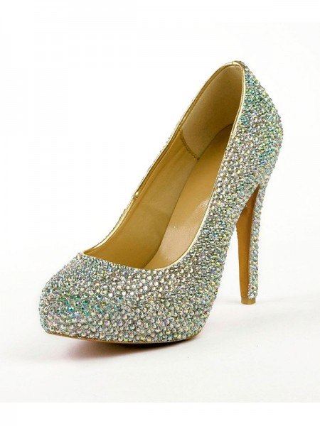 Mulheres Stiletto Heel Salto alto com Imitação de Diamantes Plataforma Plataforma Sapatos