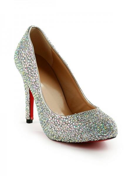 Mulheres Stiletto Heel Rubber com Imitação de Diamantes Party & Evening Salto alto