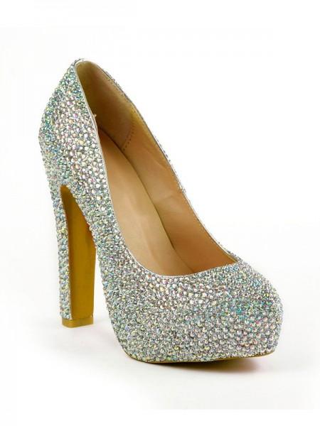 Mulheres Stiletto Heel Dedo do pé fechado com Imitação de Diamantes Plataforma Plataforma Sapatos