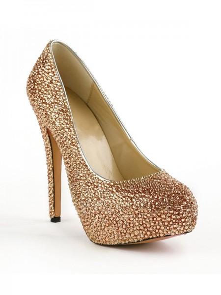 Mulheres Dedo do pé fechado Stiletto Heel Plataforma com Imitação de Diamantes Plataforma Plataforma Sapatos