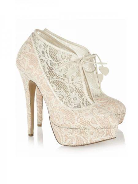 Mulheres Renda Stiletto Heel Dedo do pé fechado Plataforma Casamento Champagne Botas
