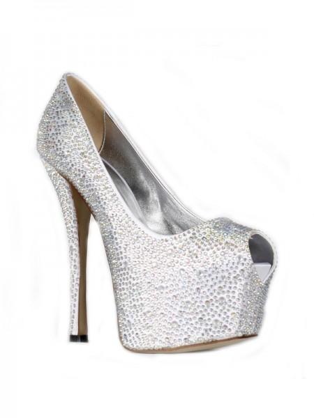 Mulheres Cetim Stiletto Heel Peep Toe Plataforma com Imitação de Diamante Salto alto