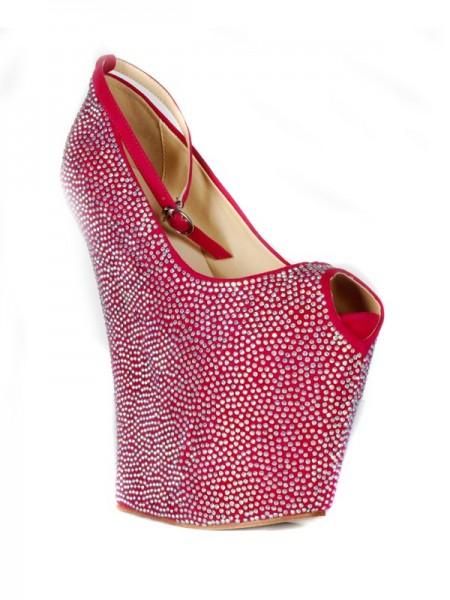 Mulheres Flock Cunhas Peep Toe Plataforma com Imitação de Diamante Sapatos de cunha