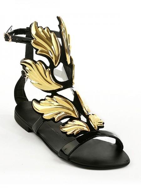 Mulheres Camurça Heel Plana Peep Toe com Fivela Sandálias Sapatos