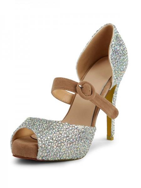 Mulheres Camurça Peep Toe Stiletto Heel Plataforma com Imitação de Diamante Plataforma Sapatos