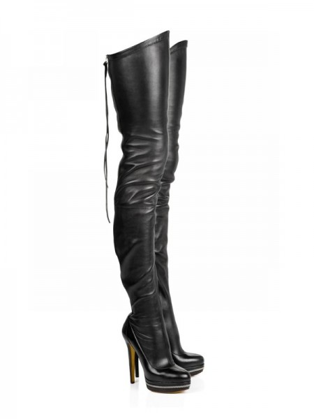Mulheres Elastic Leather Stiletto Heel Plataforma Over The Knee Preto Botas