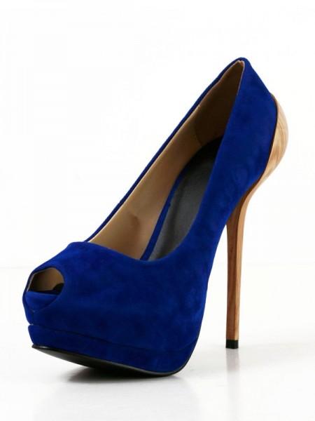 Mulheres Camurça Stiletto Heel Peep Toe Plataforma Salto alto