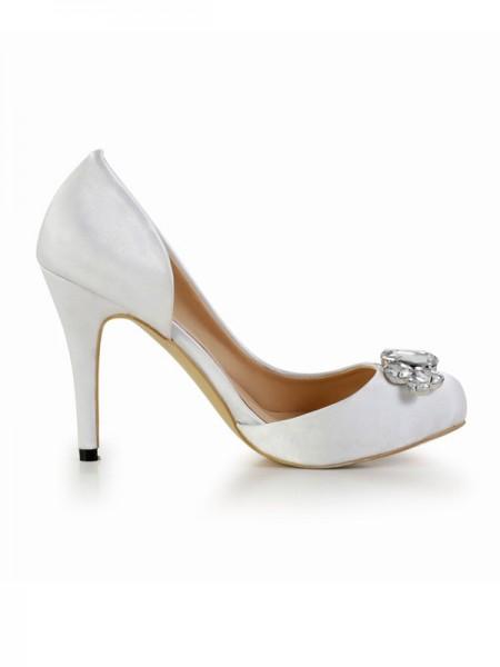 Mulheres Stiletto Heel Silk Dedo do pé fechado com Imitação de Diamante Plataforma Branco Casamento Sapatos