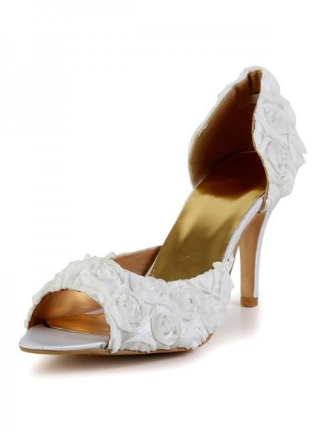 Mulheres Stiletto Heel Silk Peep Toe com Flor Branco Casamento Sapatos