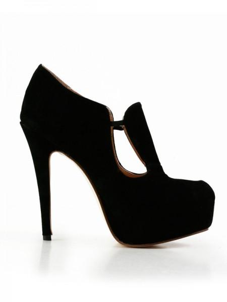 Mulheres Stiletto Heel Camurça Dedo do pé fechado Plataforma Salto alto